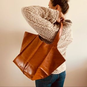 NWT Faux Leather Tote Shoulder Bag Casual Purse